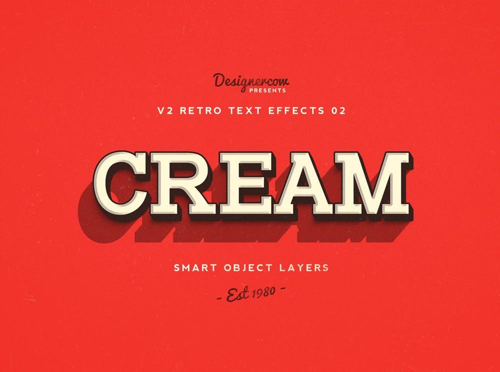 10款复古3D立体效果徽标标题字体设计PS样式模板 Retro Text Effects V2插图(8)