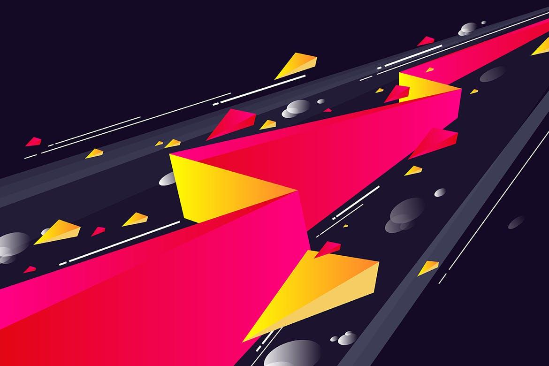 多彩抽象几何闪电矢量背景素材 Geometric Lightning Backgrounds插图(8)