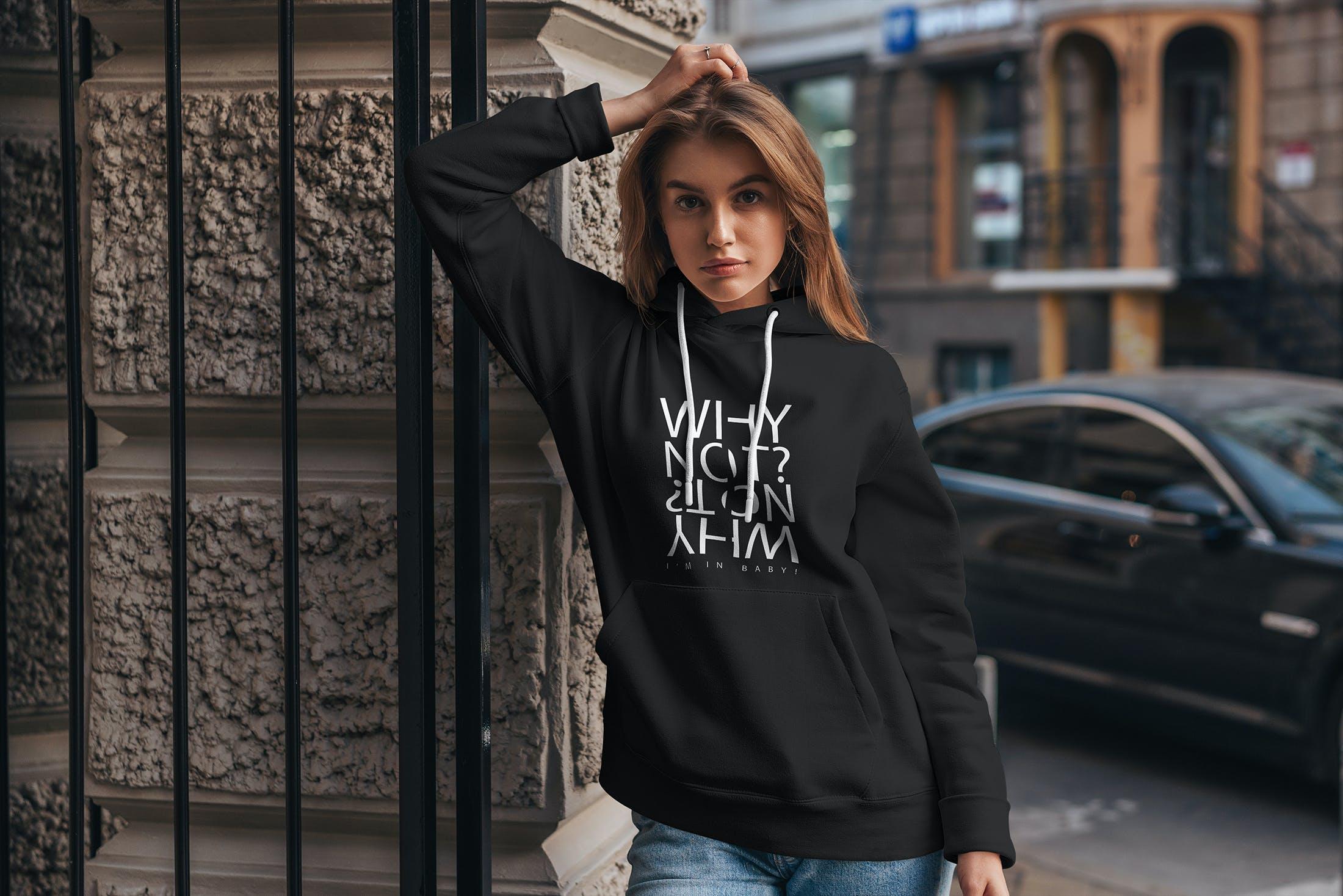 15款女孩连衣帽卫衣印花设计展示样机 Hoodie Mockup Street Fashion插图(8)