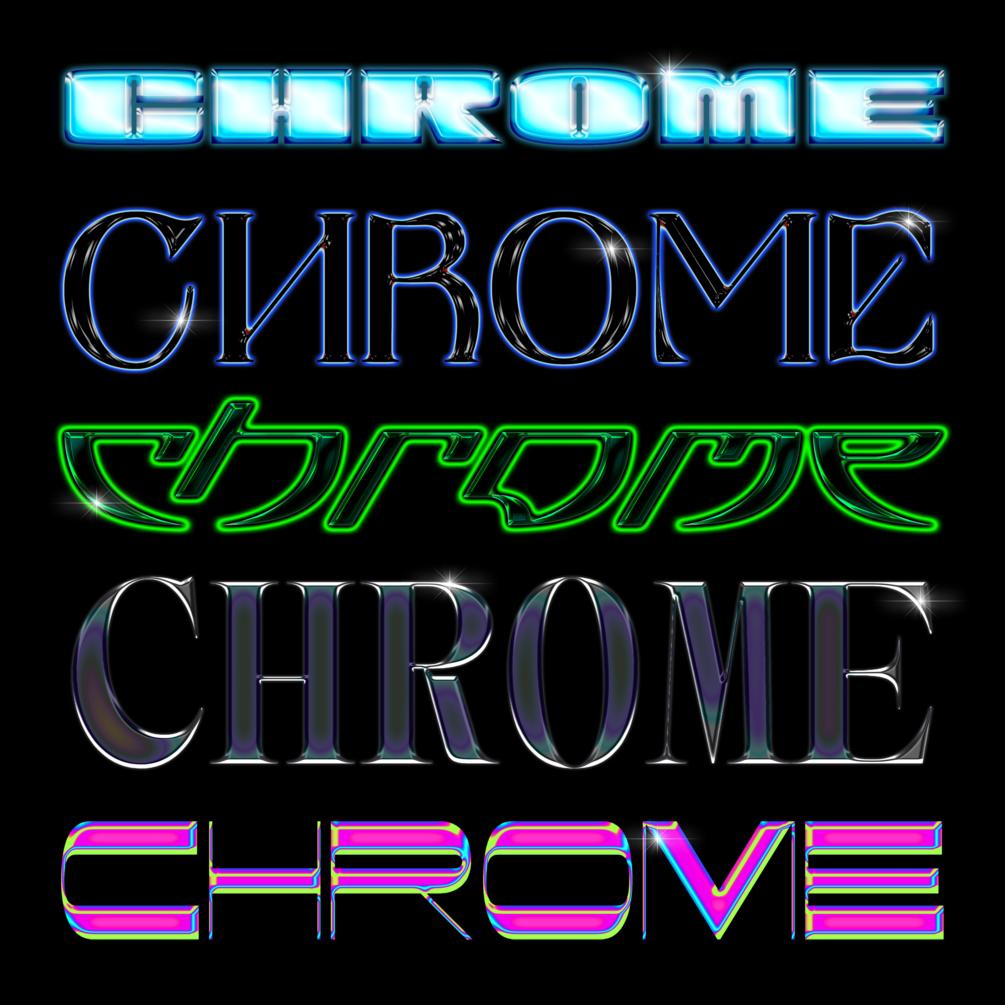 30多种独特金属发光效果立体字体PS样式 Chrome效果 Chrome Pack 1插图(3)