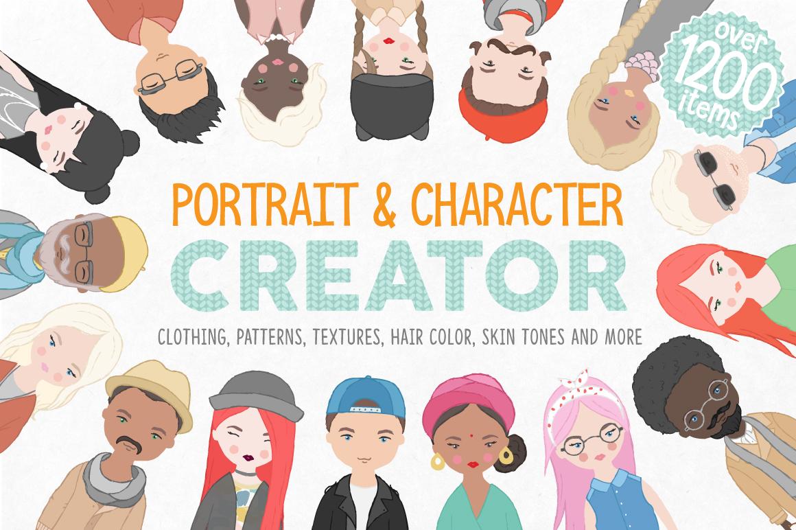 卡通人像头发服装设计矢量素材 Portrait & Character Creator插图