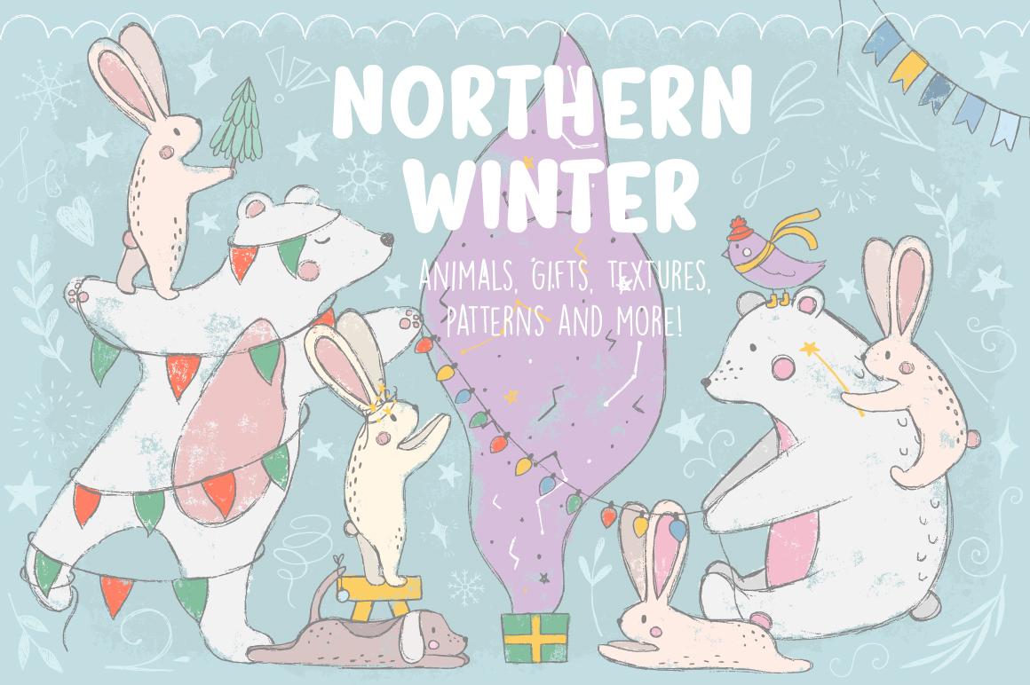 180多个冬季圣诞节主题矢量图案素材 Northern Winter插图