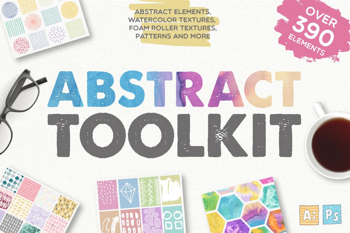390多个抽象几何图案水彩背景矢量素材 Abstract Toolkit [390 elements]插图
