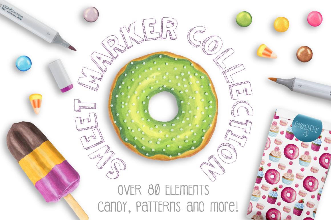 80款卡通儿童生日主题矢量图案素材 Sweet Marker Collection插图