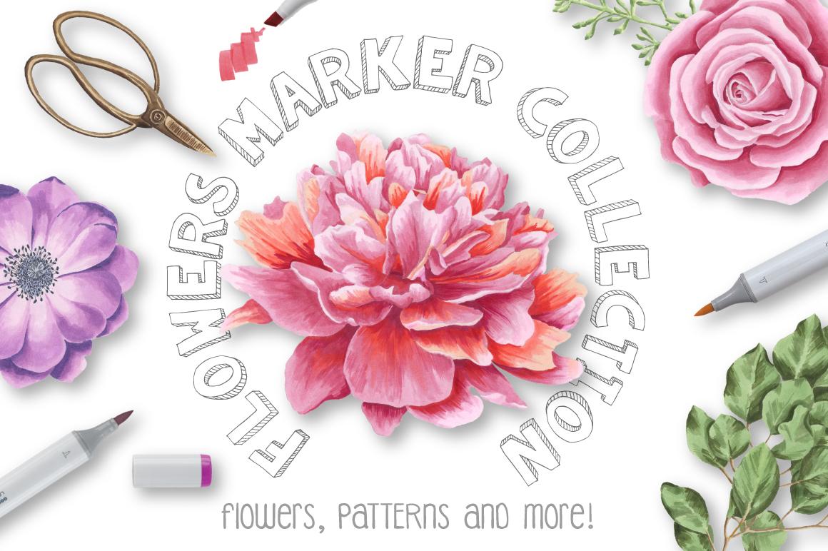 33款高清玫瑰牡丹海葵花卉花圈水彩剪贴画图片素材 Flower Marker Collection插图
