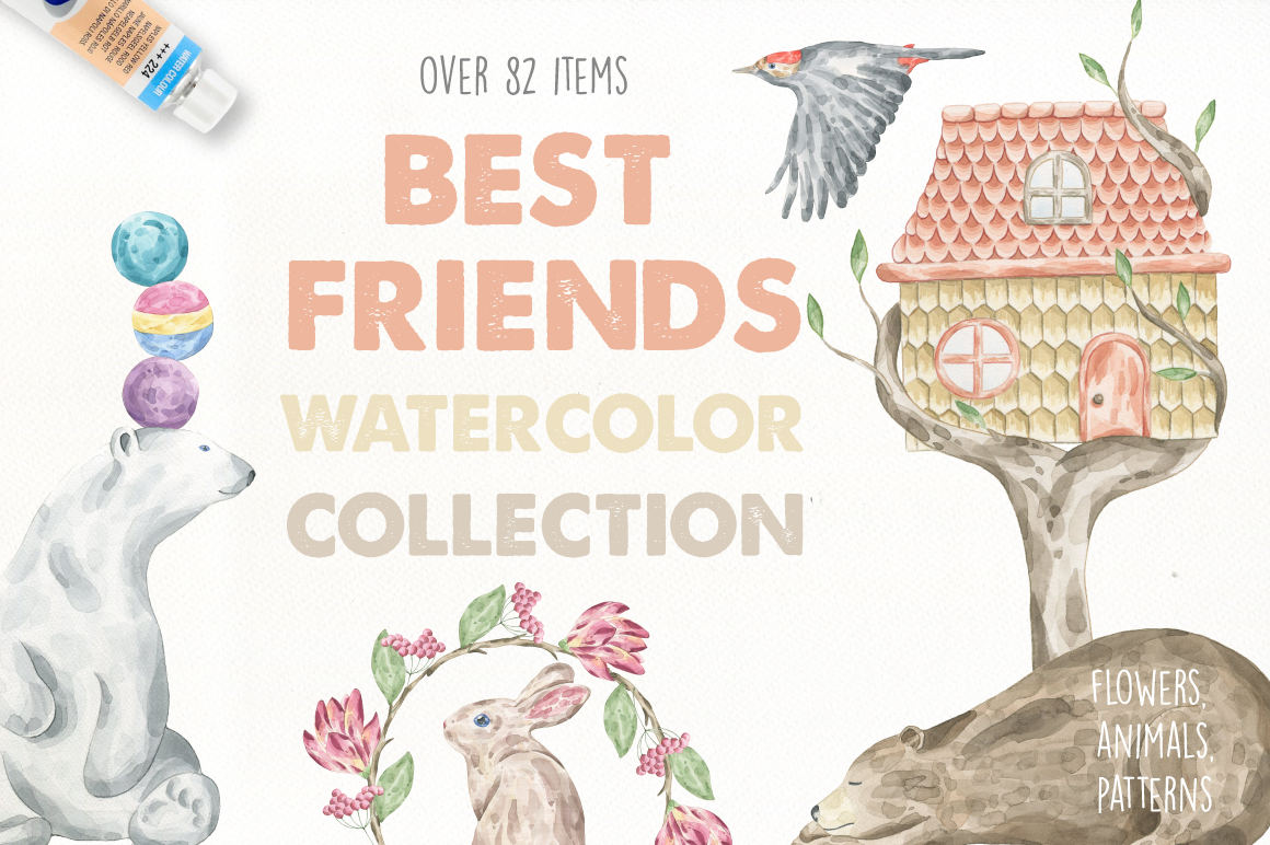 82款高清手绘兔子熊花卉水彩元素PNG图片素材 Best Friends Watercolor Collection插图