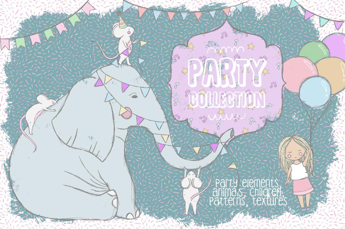 173款手绘大象花卉装饰图案矢量素材 Party Collection插图