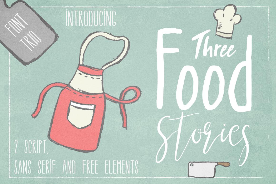 手绘厨房主题英文字体矢量图案下载 Three Food Stories [Font Trio]插图