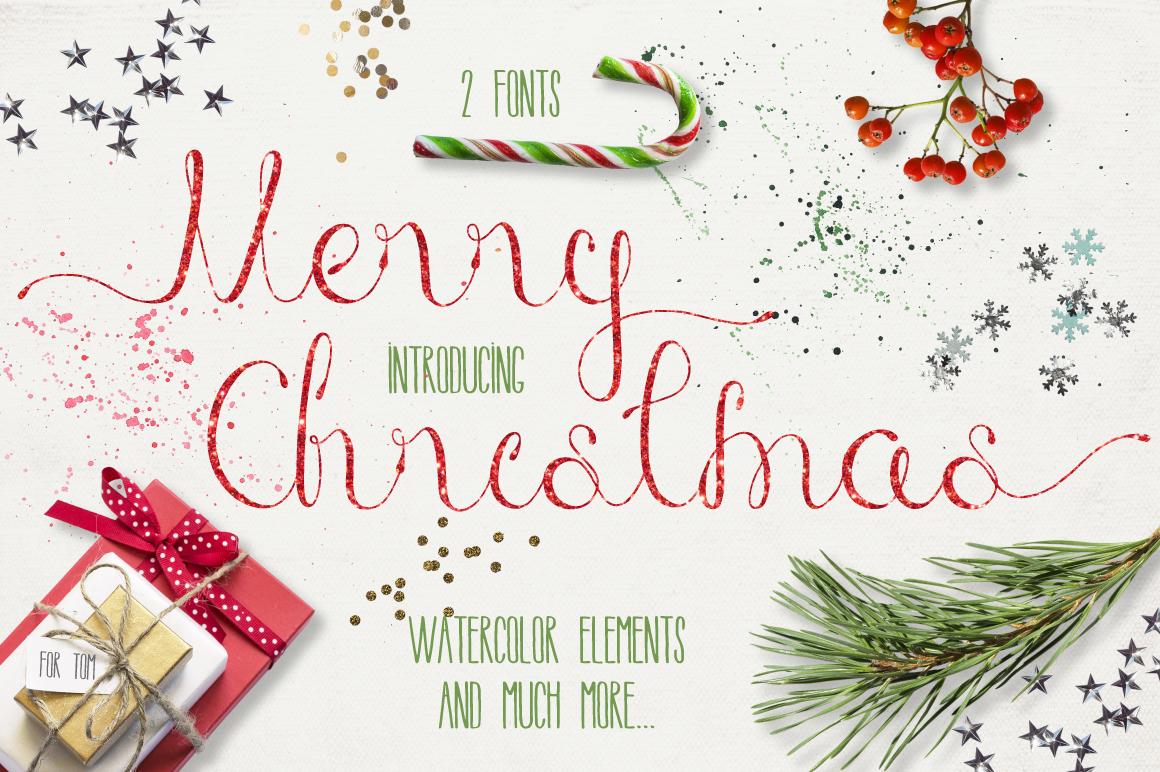 圣诞节主题手写英文字体&水彩纹理素材 Merry Christmas [2 fonts]+Free Goods插图