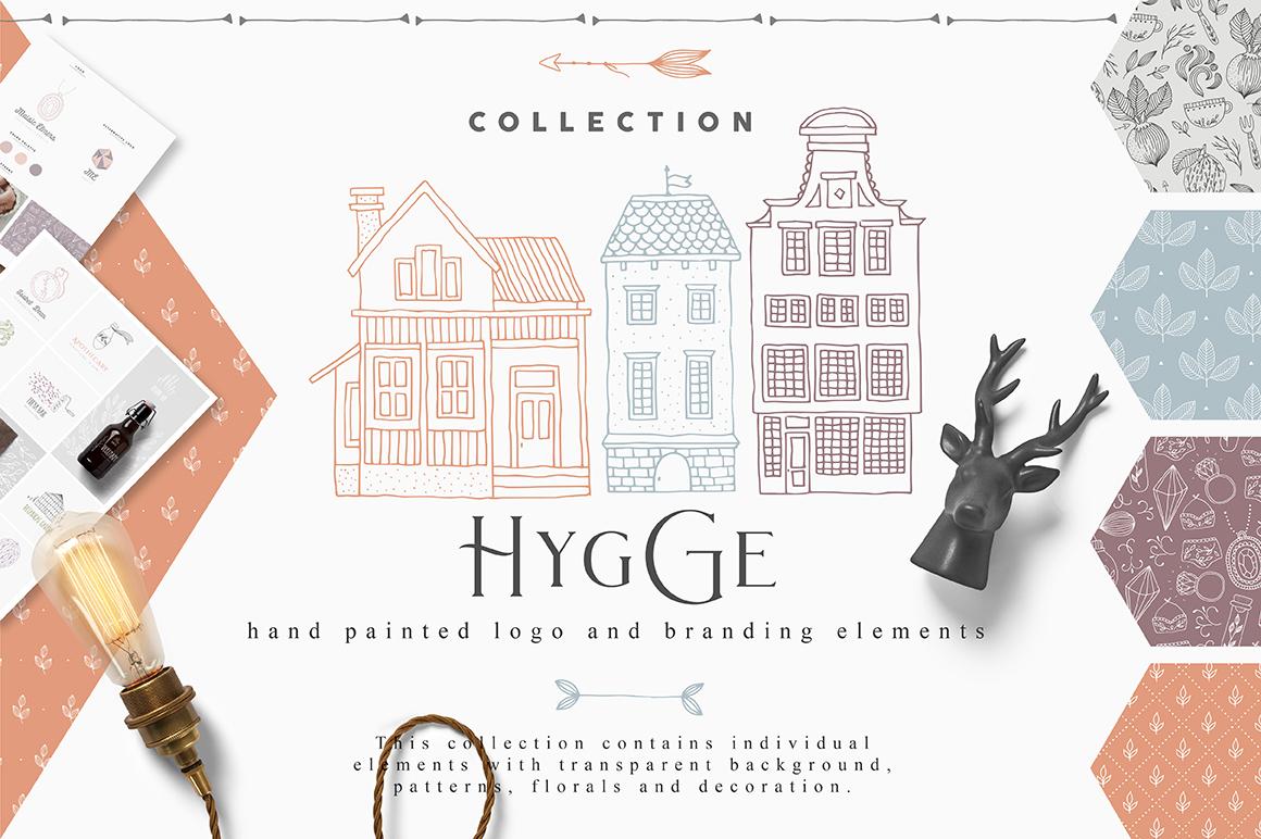 柔美手绘花卉植物元素徽标标志设计矢量素材 Hygge Collection插图
