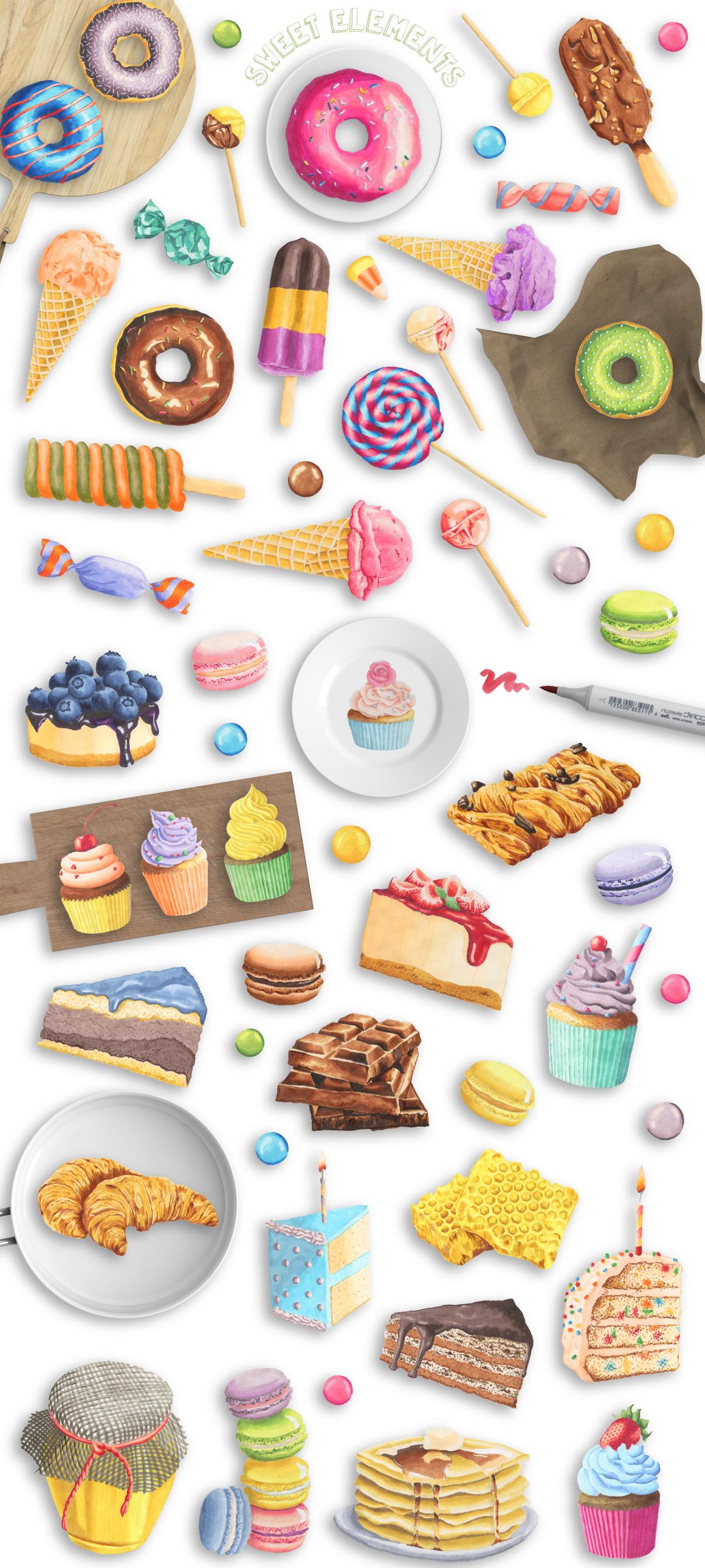 80款卡通儿童生日主题矢量图案素材 Sweet Marker Collection插图(1)