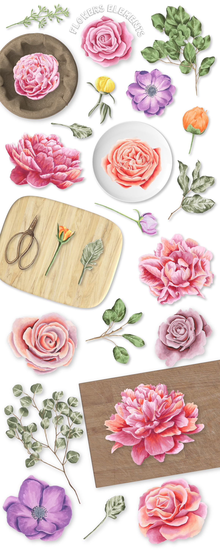 33款高清玫瑰牡丹海葵花卉花圈水彩剪贴画图片素材 Flower Marker Collection插图(1)