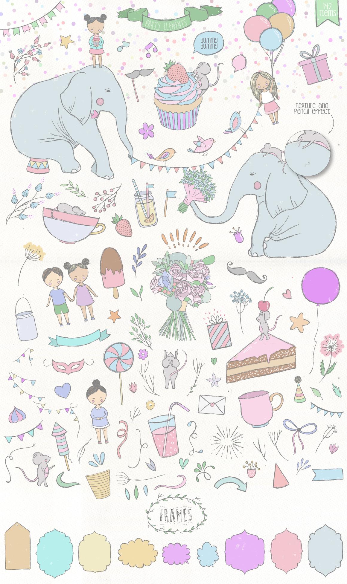 173款手绘大象花卉装饰图案矢量素材 Party Collection插图(1)