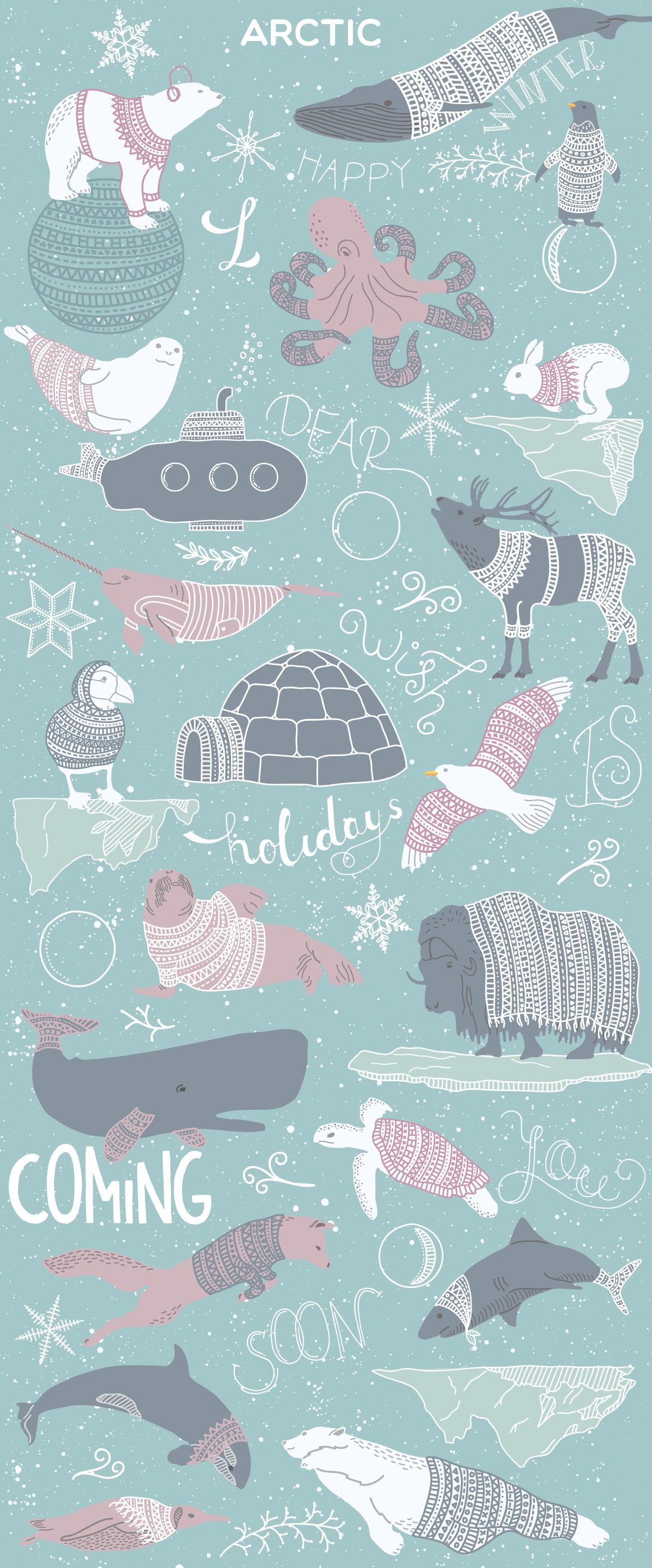 北极熊&抽象空间元素装饰图案素材集 Arctic Space Collection插图(1)