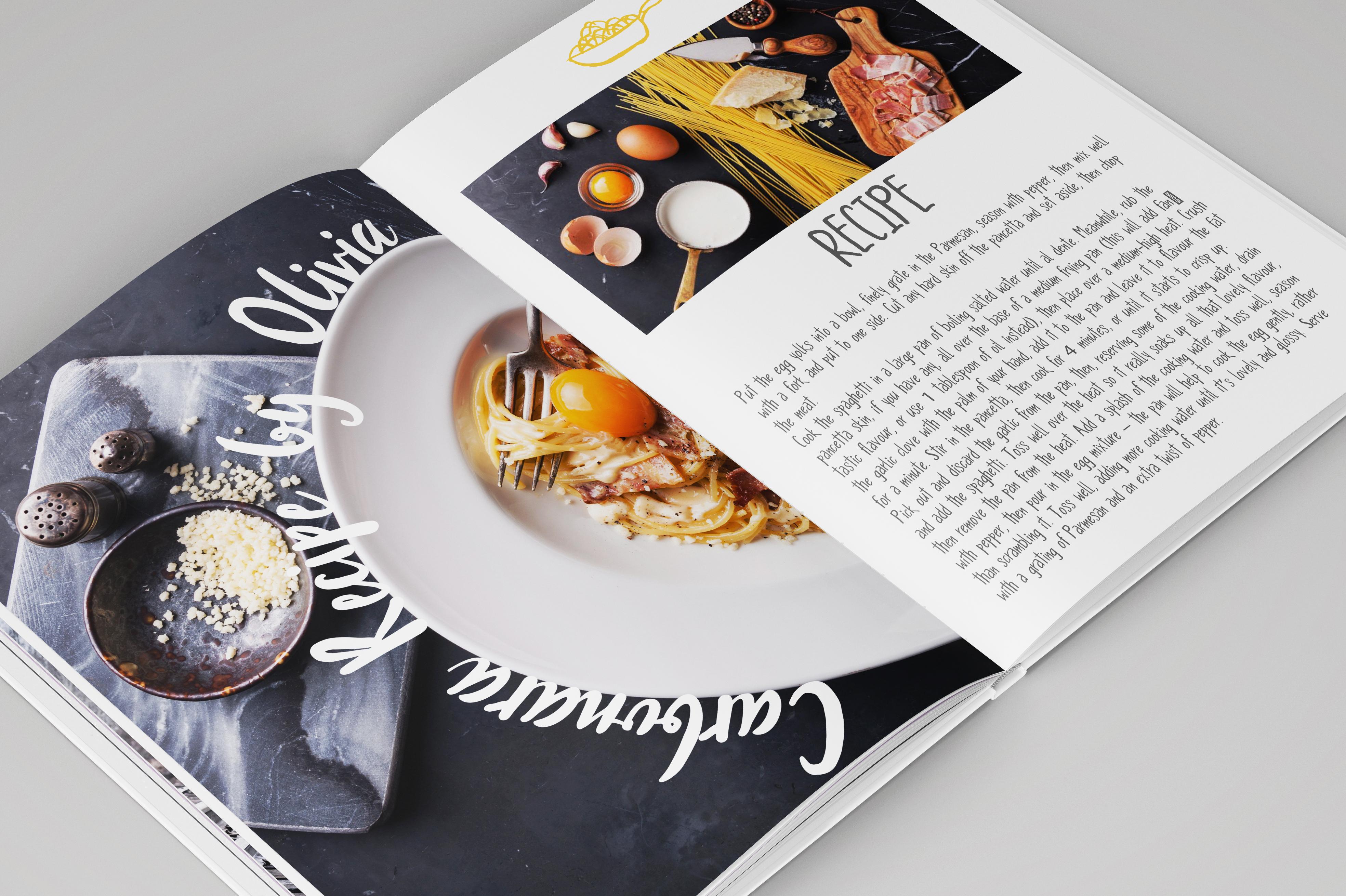 手绘厨房主题英文字体矢量图案下载 Three Food Stories [Font Trio]插图(1)