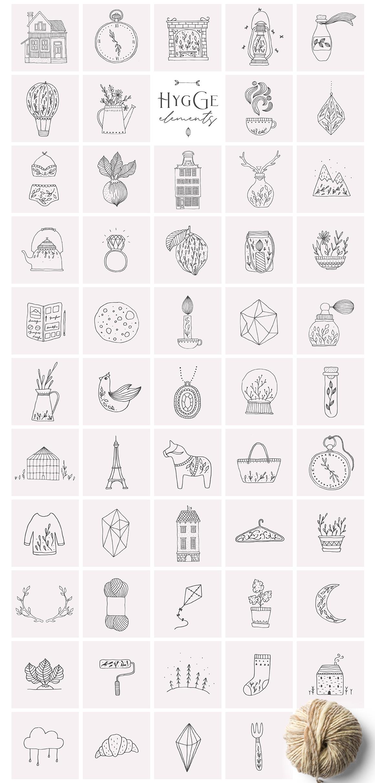 柔美手绘花卉植物元素徽标标志设计矢量素材 Hygge Collection插图(1)