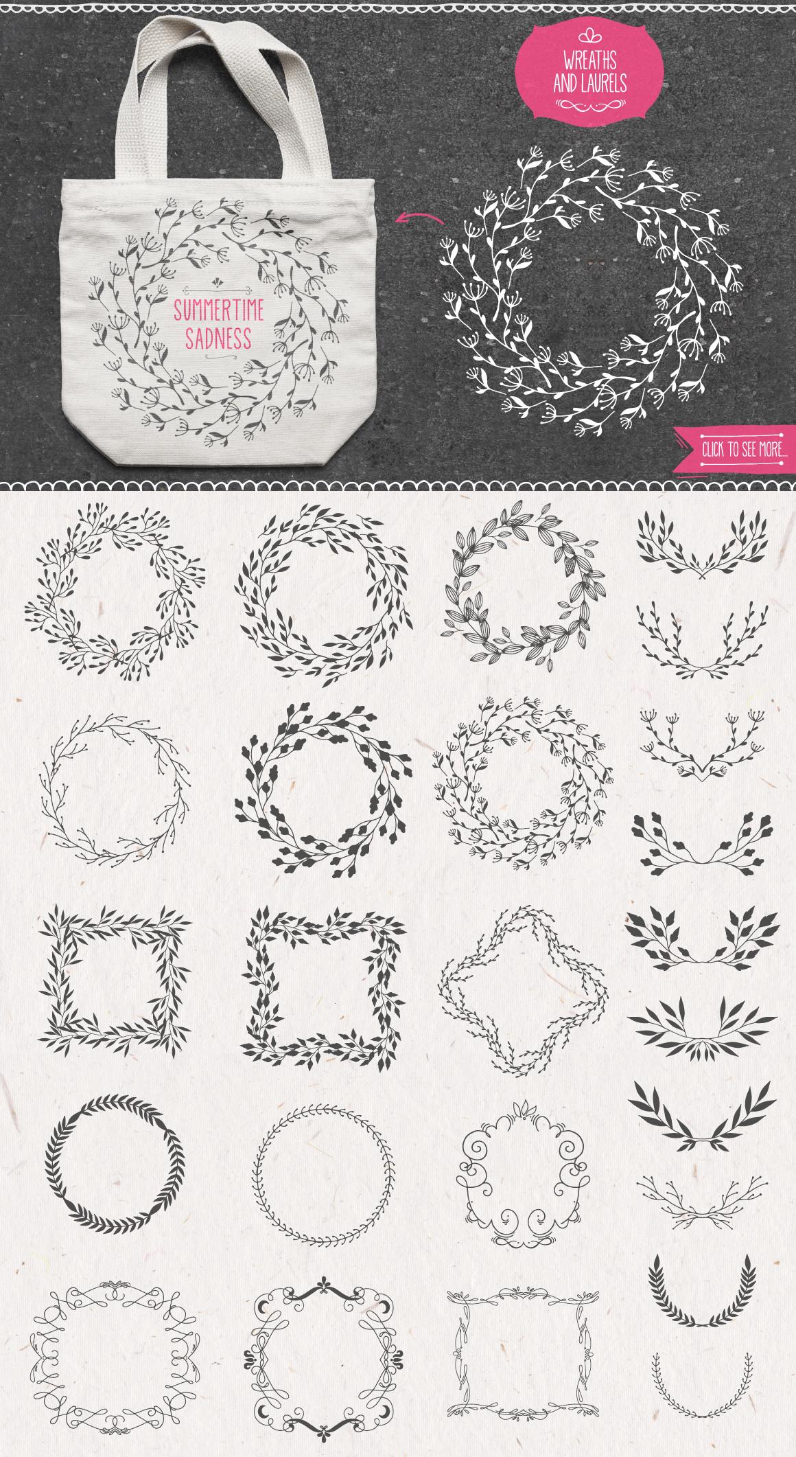 500多个花圈徽标装饰图案矢量素材 Decoration Toolkit插图(2)