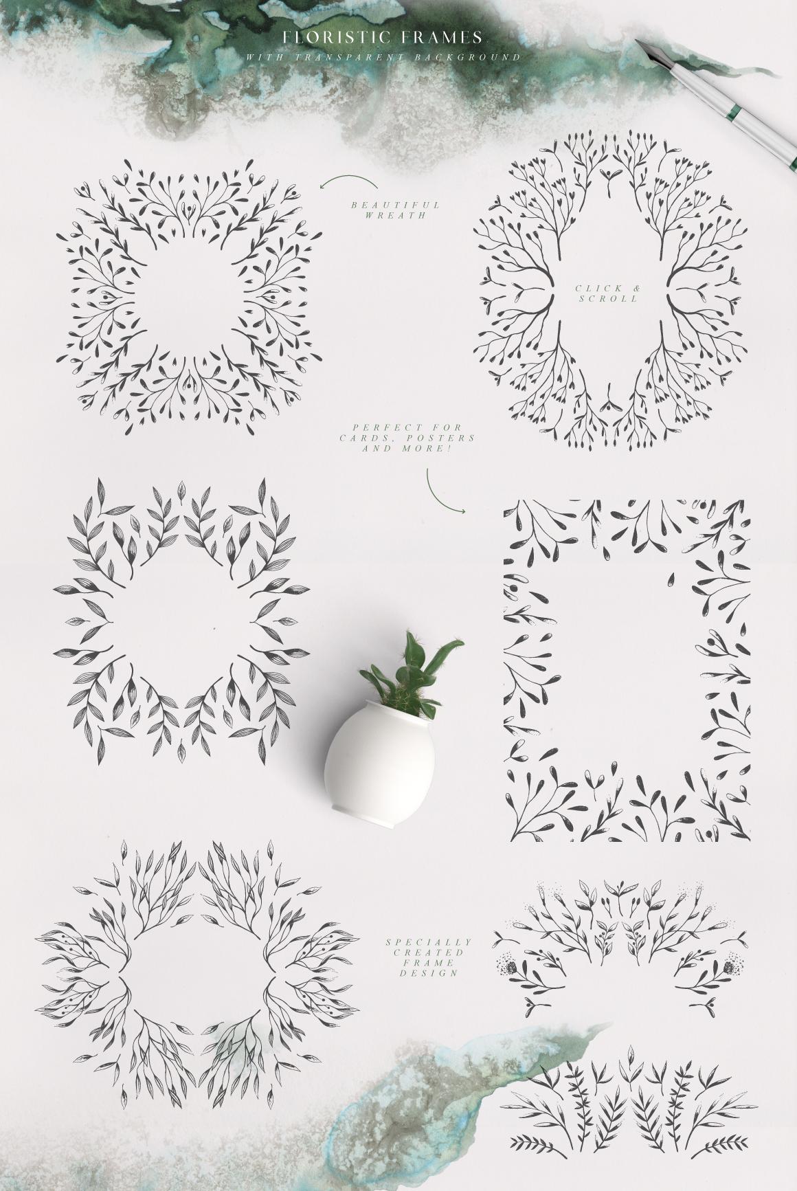 优美手绘水彩花卉树叶&水墨水彩背景素材 Magic Ombre插图(2)