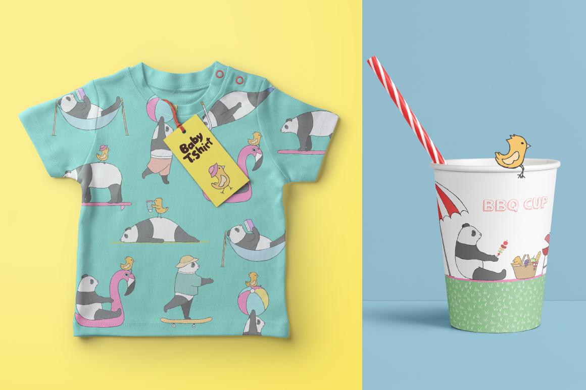 夏季主题手绘卡通熊猫水彩剪贴画素材 Summer Collection插图(2)