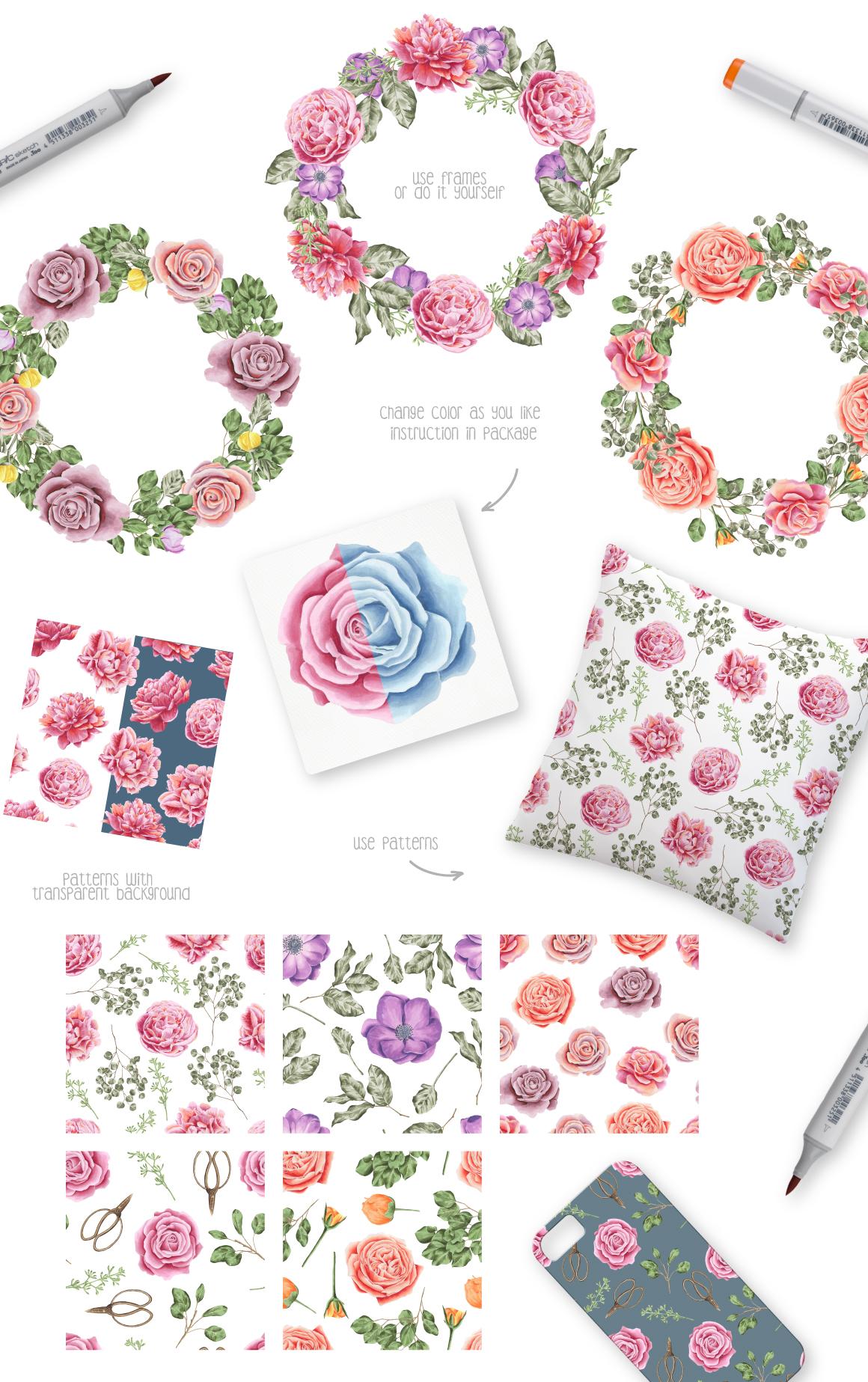 33款高清玫瑰牡丹海葵花卉花圈水彩剪贴画图片素材 Flower Marker Collection插图(2)
