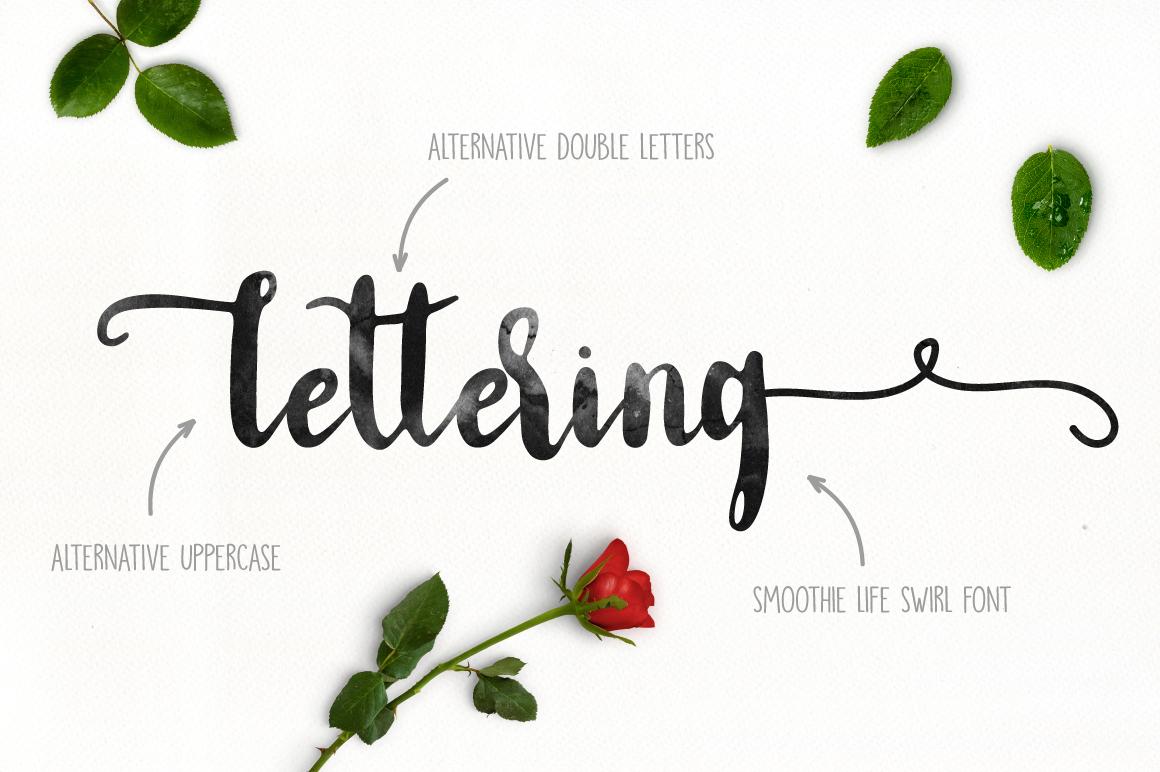 手写螺旋签名英文字体下载 Smoothie Life [Font Duo]插图(2)