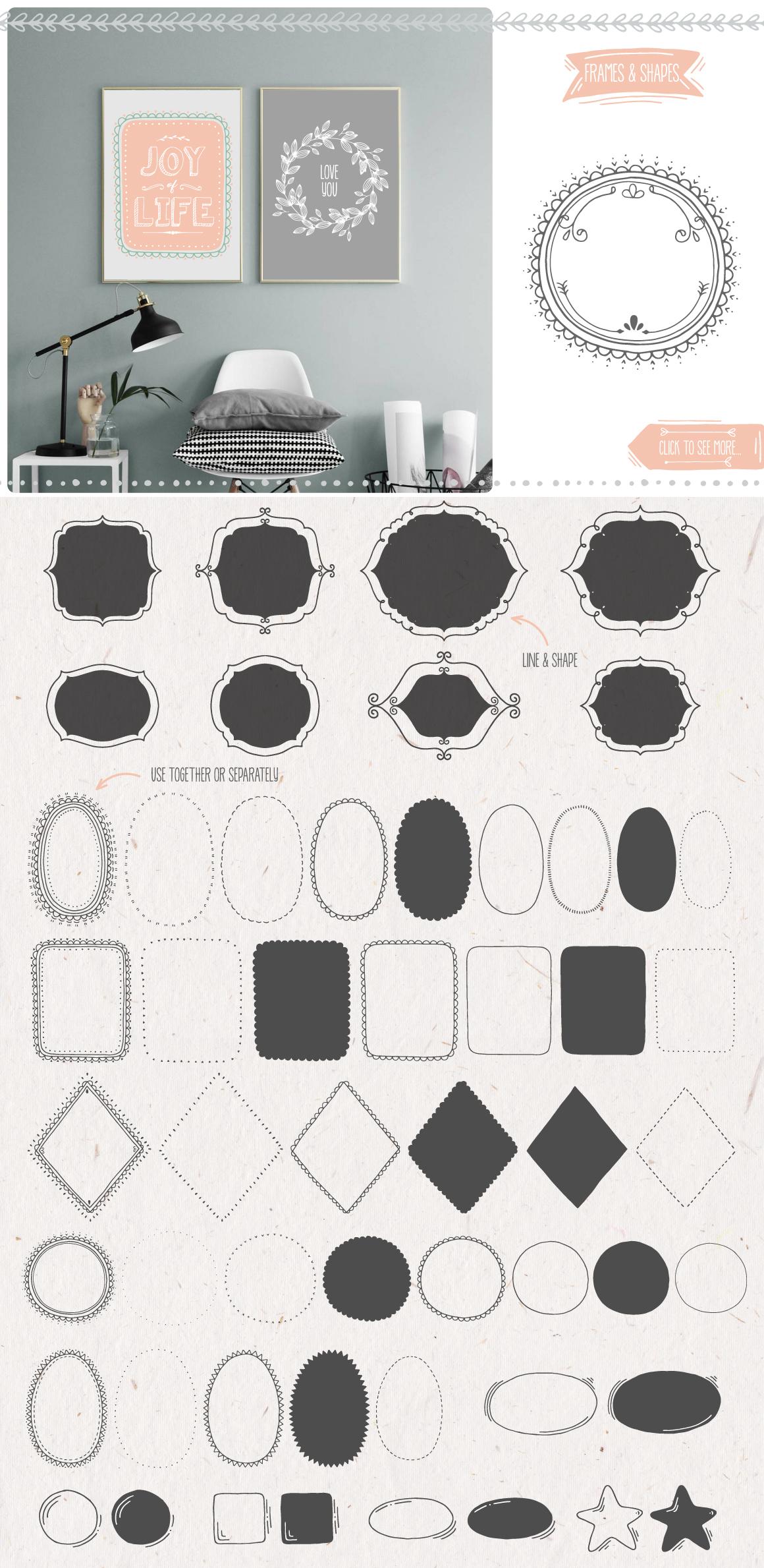 500多个花圈徽标装饰图案矢量素材 Decoration Toolkit插图(3)