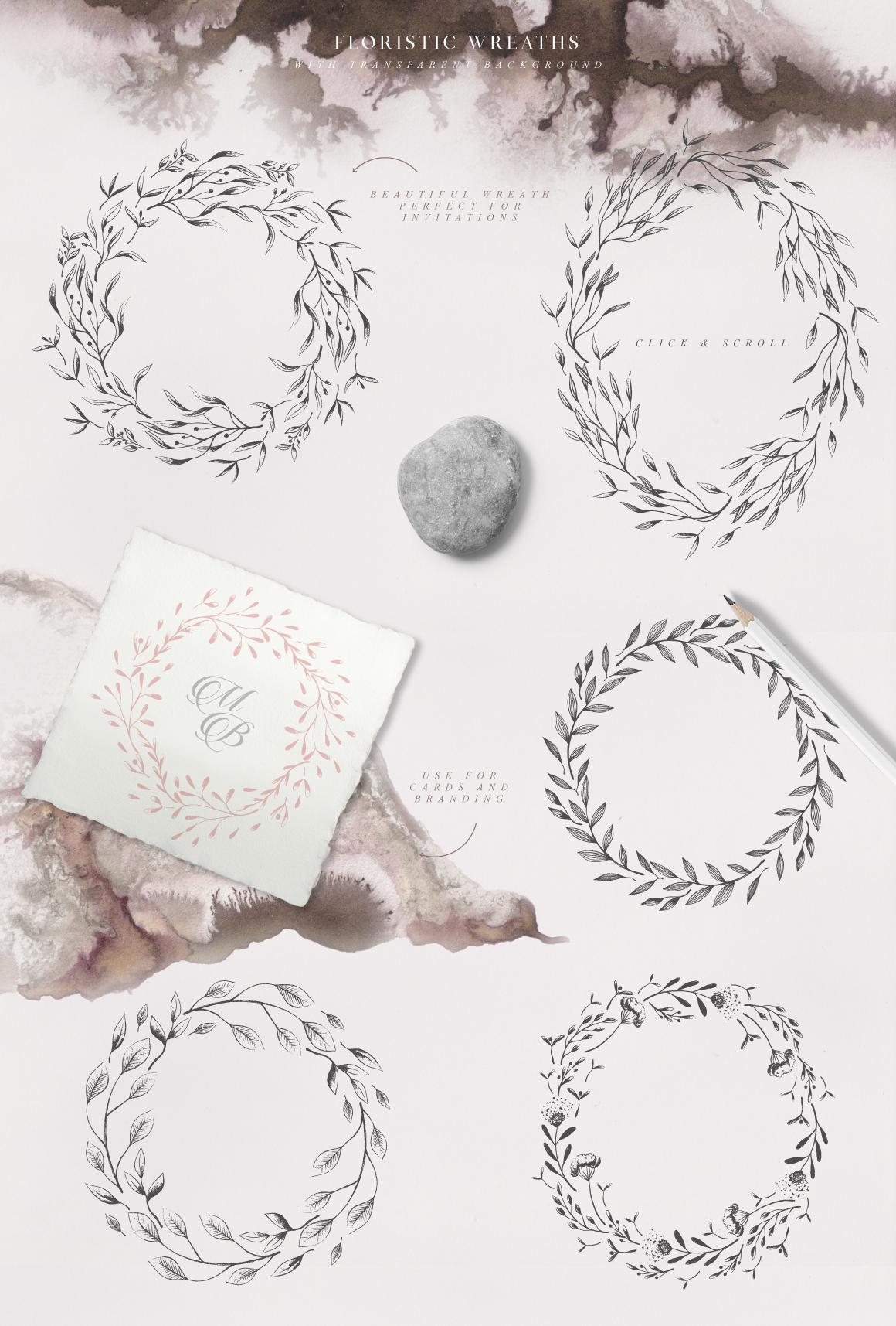 优美手绘水彩花卉树叶&水墨水彩背景素材 Magic Ombre插图(3)