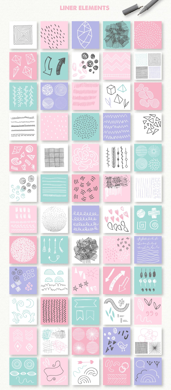 390多个抽象几何图案水彩背景矢量素材 Abstract Toolkit [390 elements]插图(3)