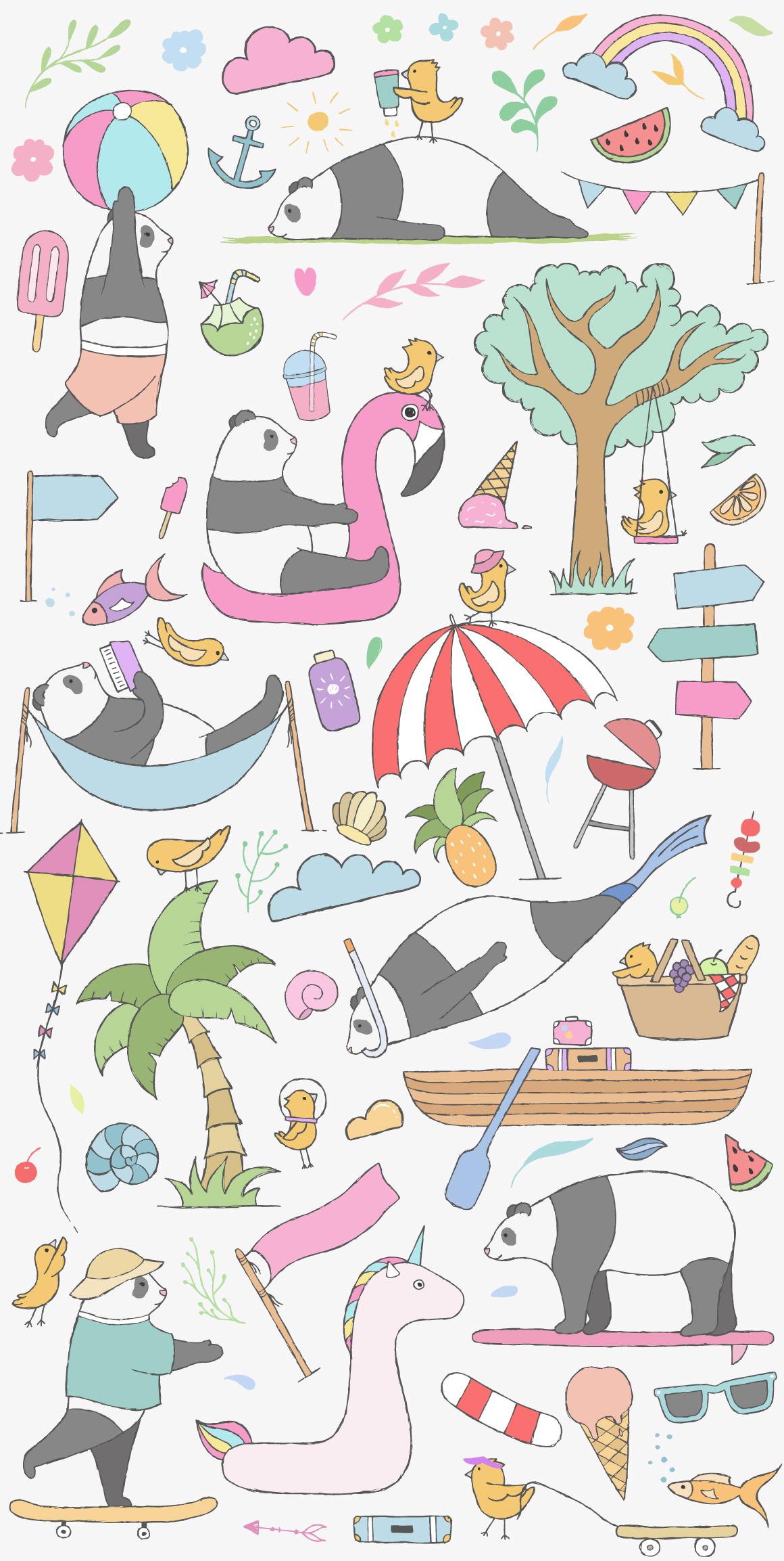 夏季主题手绘卡通熊猫水彩剪贴画素材 Summer Collection插图(4)