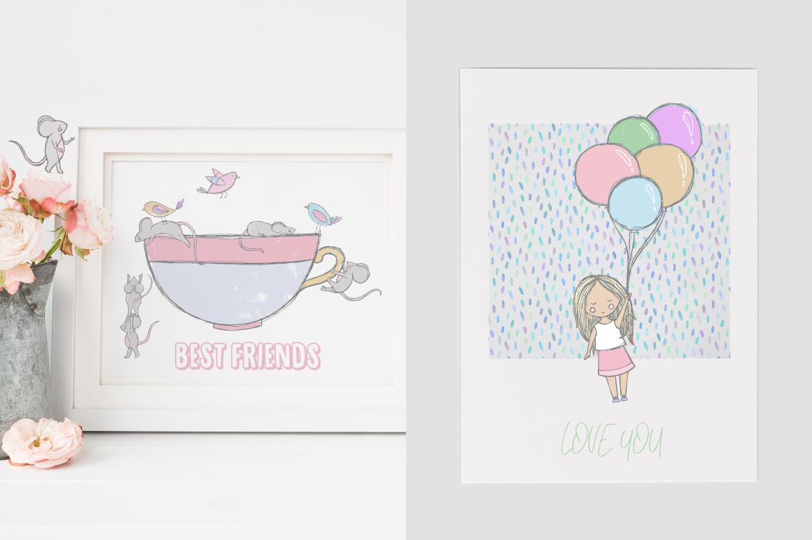 173款手绘大象花卉装饰图案矢量素材 Party Collection插图(4)