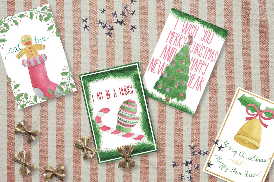 圣诞节主题手写英文字体&水彩纹理素材 Merry Christmas [2 fonts]+Free Goods插图(4)