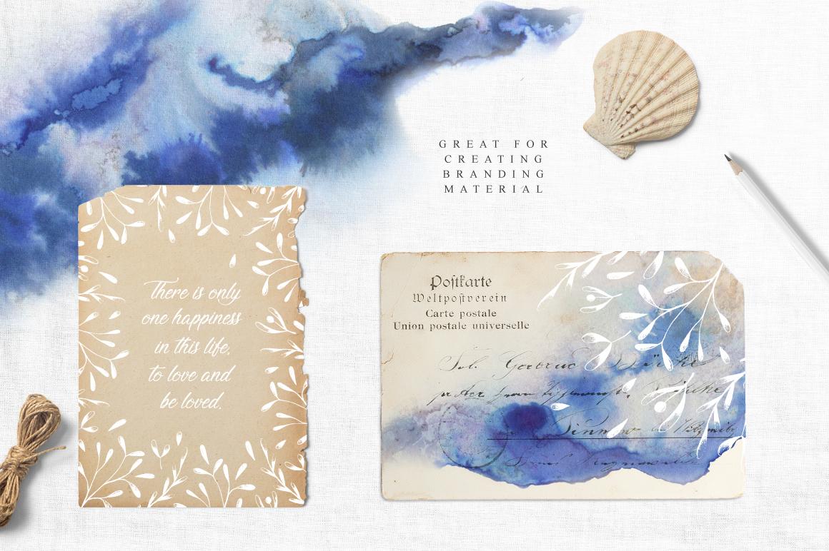 优美手绘水彩花卉树叶&水墨水彩背景素材 Magic Ombre插图(5)