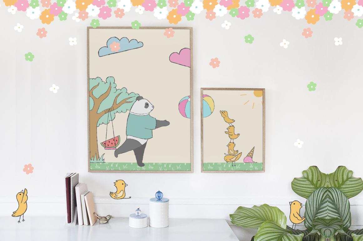 夏季主题手绘卡通熊猫水彩剪贴画素材 Summer Collection插图(5)