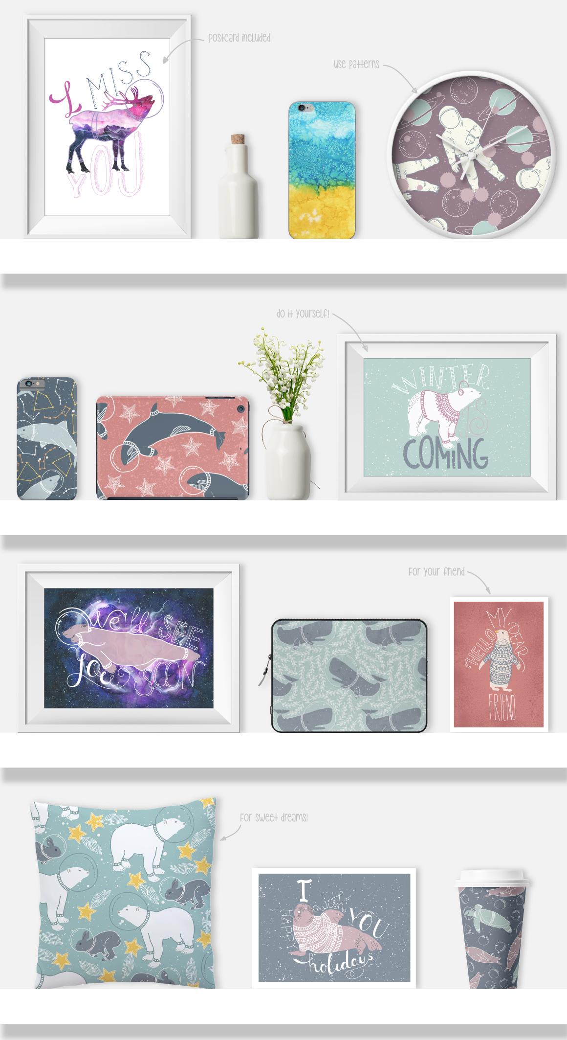 北极熊&抽象空间元素装饰图案素材集 Arctic Space Collection插图(5)