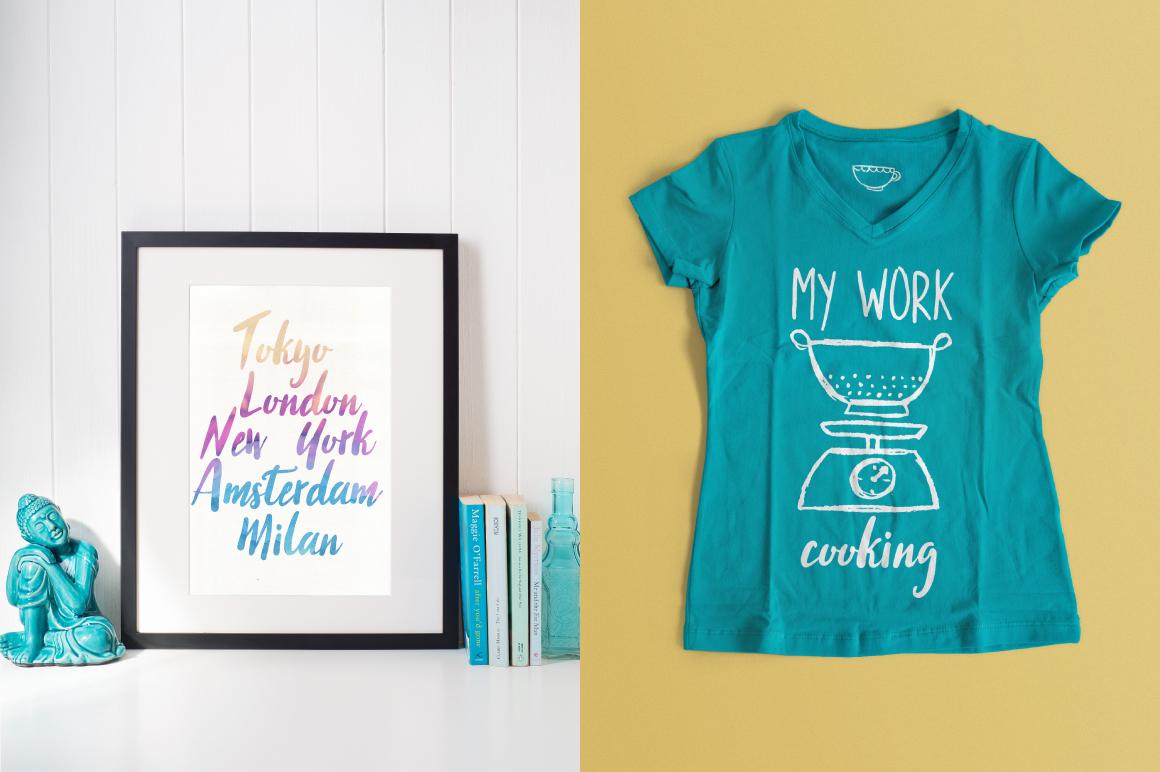 手绘厨房主题英文字体矢量图案下载 Three Food Stories [Font Trio]插图(5)