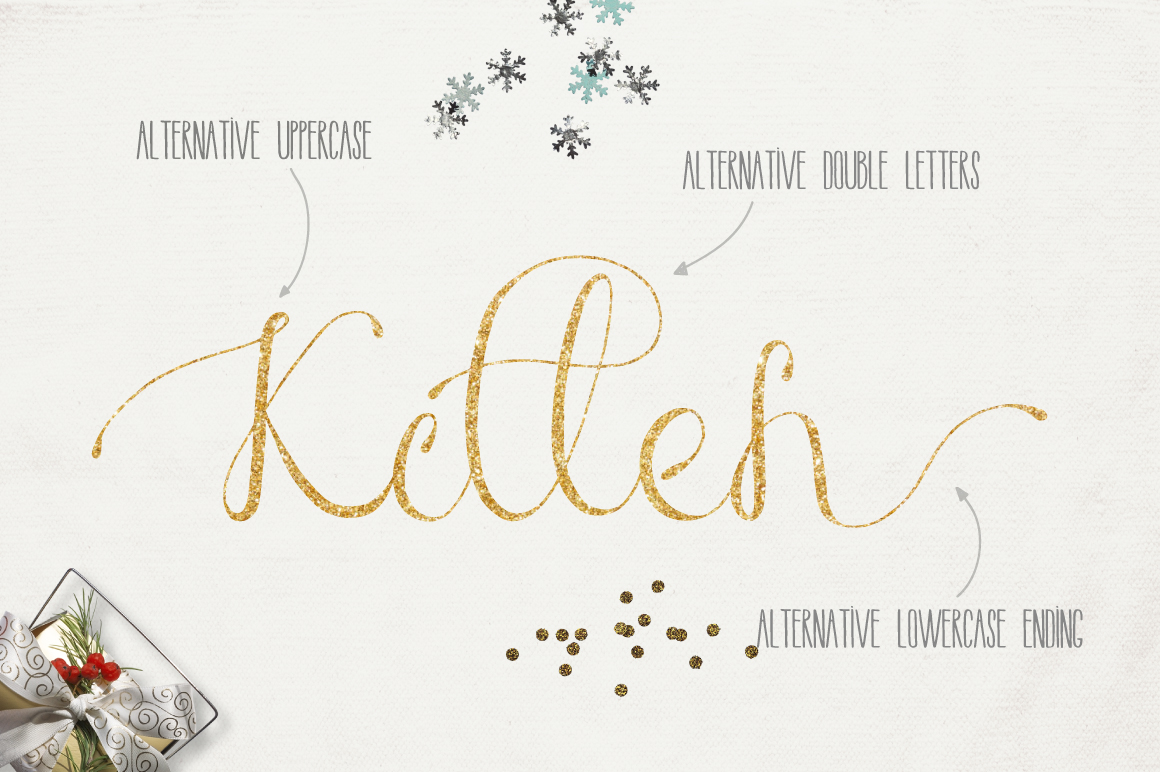 圣诞节主题手写英文字体&水彩纹理素材 Merry Christmas [2 fonts]+Free Goods插图(5)