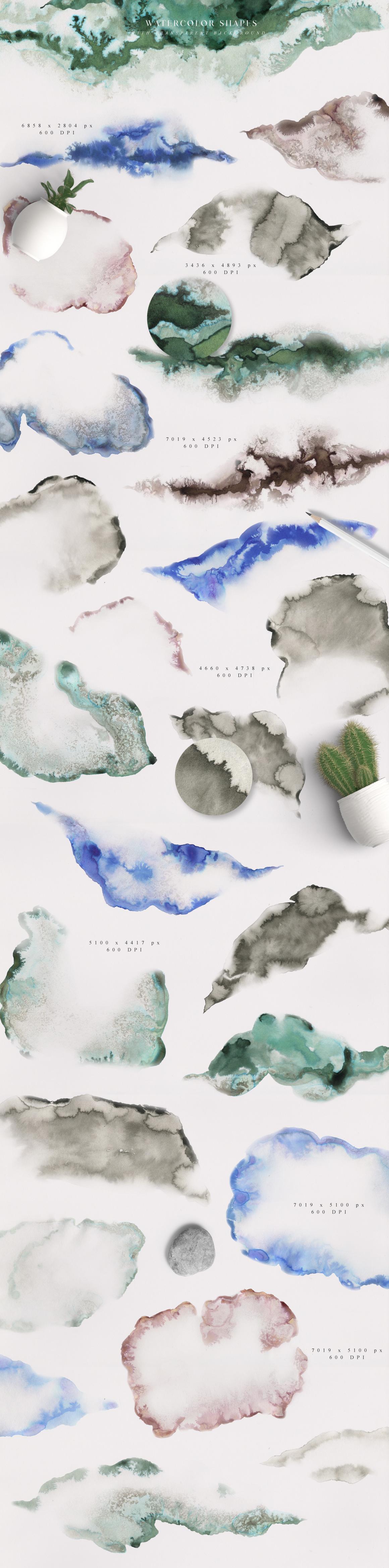优美手绘水彩花卉树叶&水墨水彩背景素材 Magic Ombre插图(6)