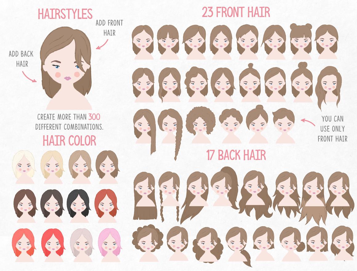 卡通人像头发服装设计矢量素材 Portrait & Character Creator插图(6)