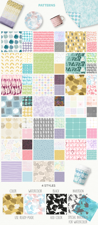 390多个抽象几何图案水彩背景矢量素材 Abstract Toolkit [390 elements]插图(6)