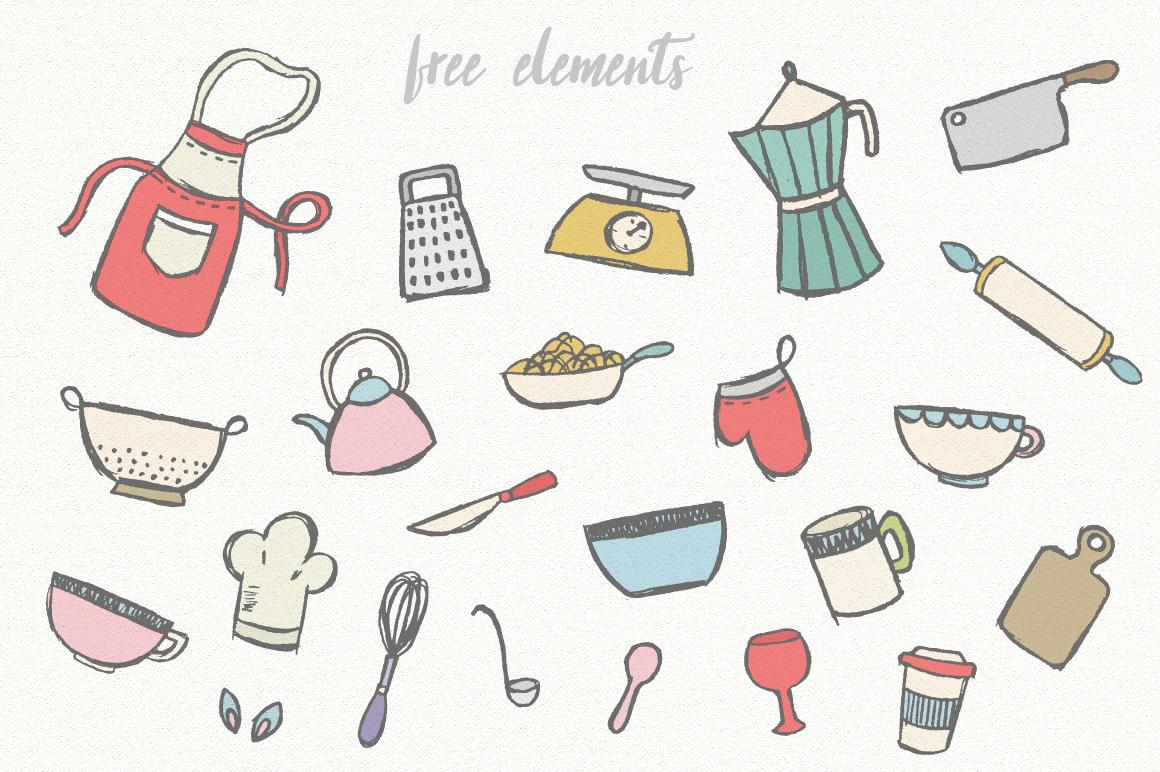 手绘厨房主题英文字体矢量图案下载 Three Food Stories [Font Trio]插图(6)