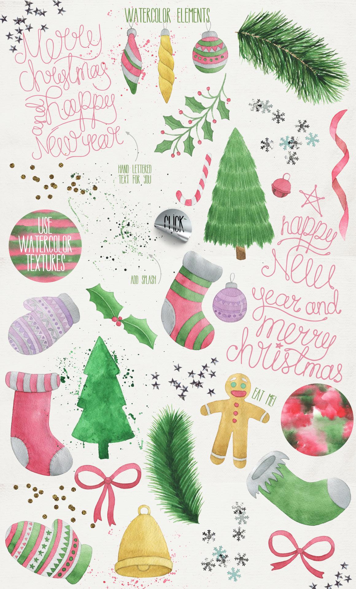 圣诞节主题手写英文字体&水彩纹理素材 Merry Christmas [2 fonts]+Free Goods插图(6)