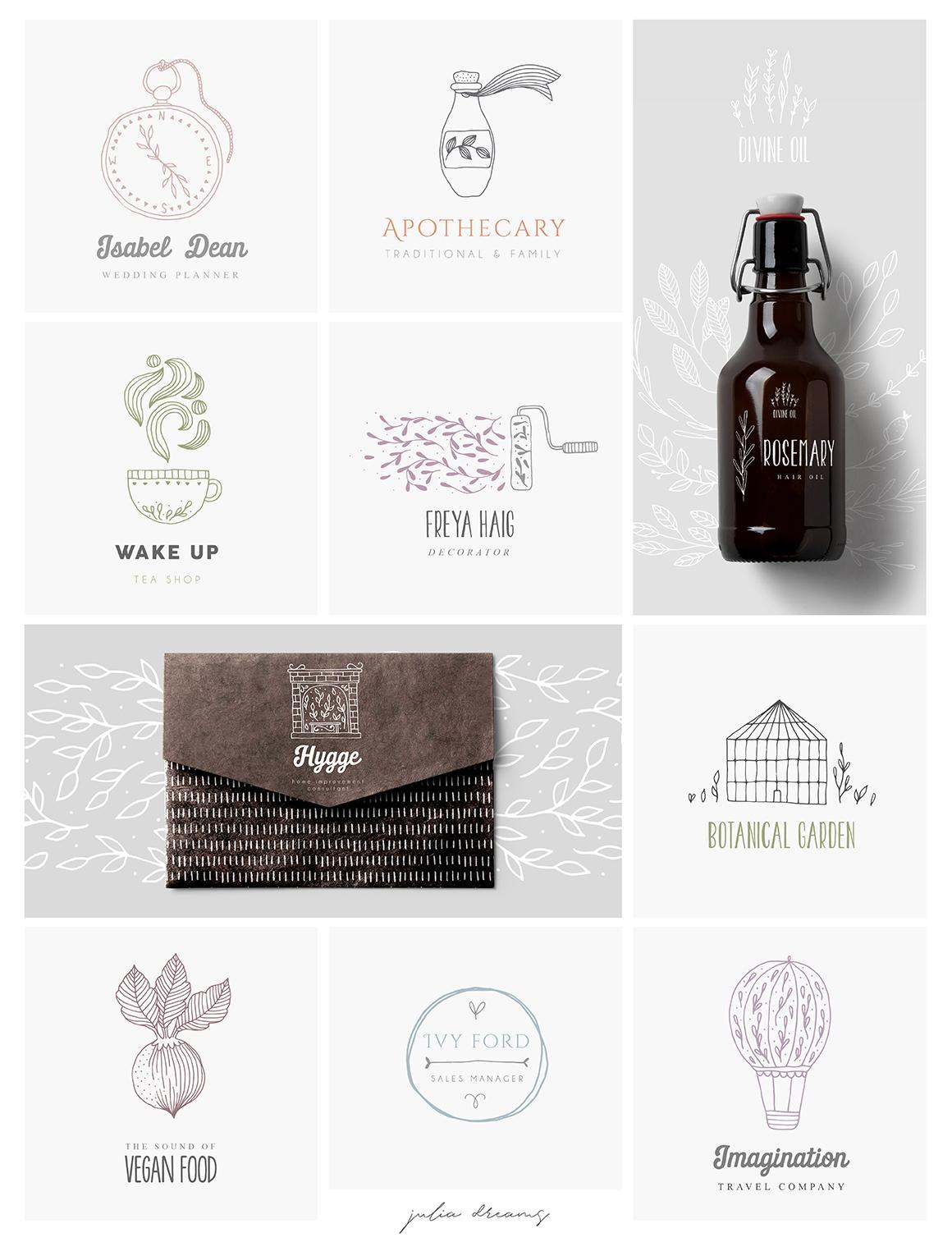 柔美手绘花卉植物元素徽标标志设计矢量素材 Hygge Collection插图(7)