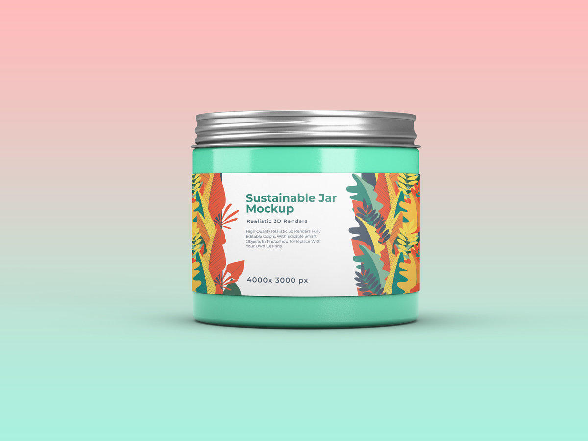 化妆品包装罐设计展示样机 Sustainable Jar Mockup插图