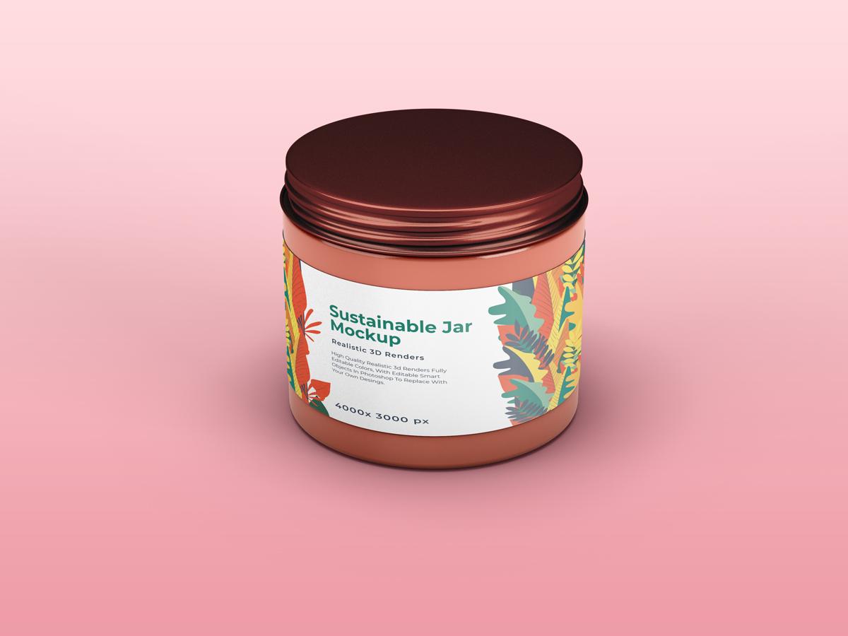 化妆品包装罐设计展示样机 Sustainable Jar Mockup插图(1)