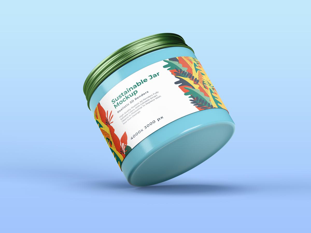 化妆品包装罐设计展示样机 Sustainable Jar Mockup插图(2)