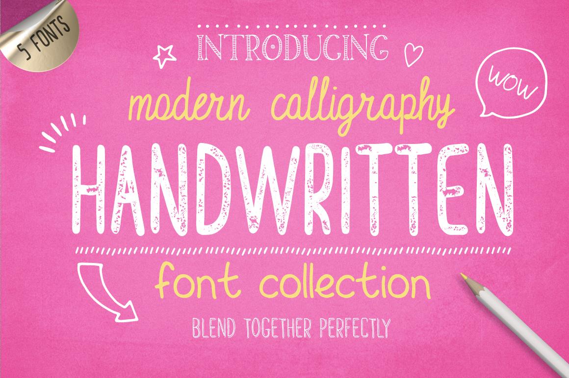 10款手写英文字体&矢量图案下载 Handwritten Font Collection插图