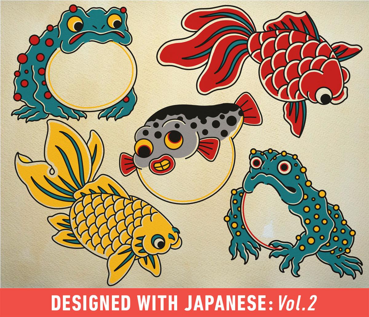 100款日系风格动物花卉符号Procreate笔刷合集 Japanese Procreate Brush Set插图(5)