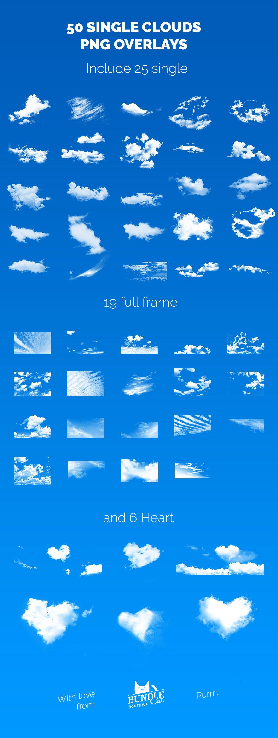 50张高清白云云朵叠加层PNG图片素材 50 Single Clouds Photo Overlays插图(5)