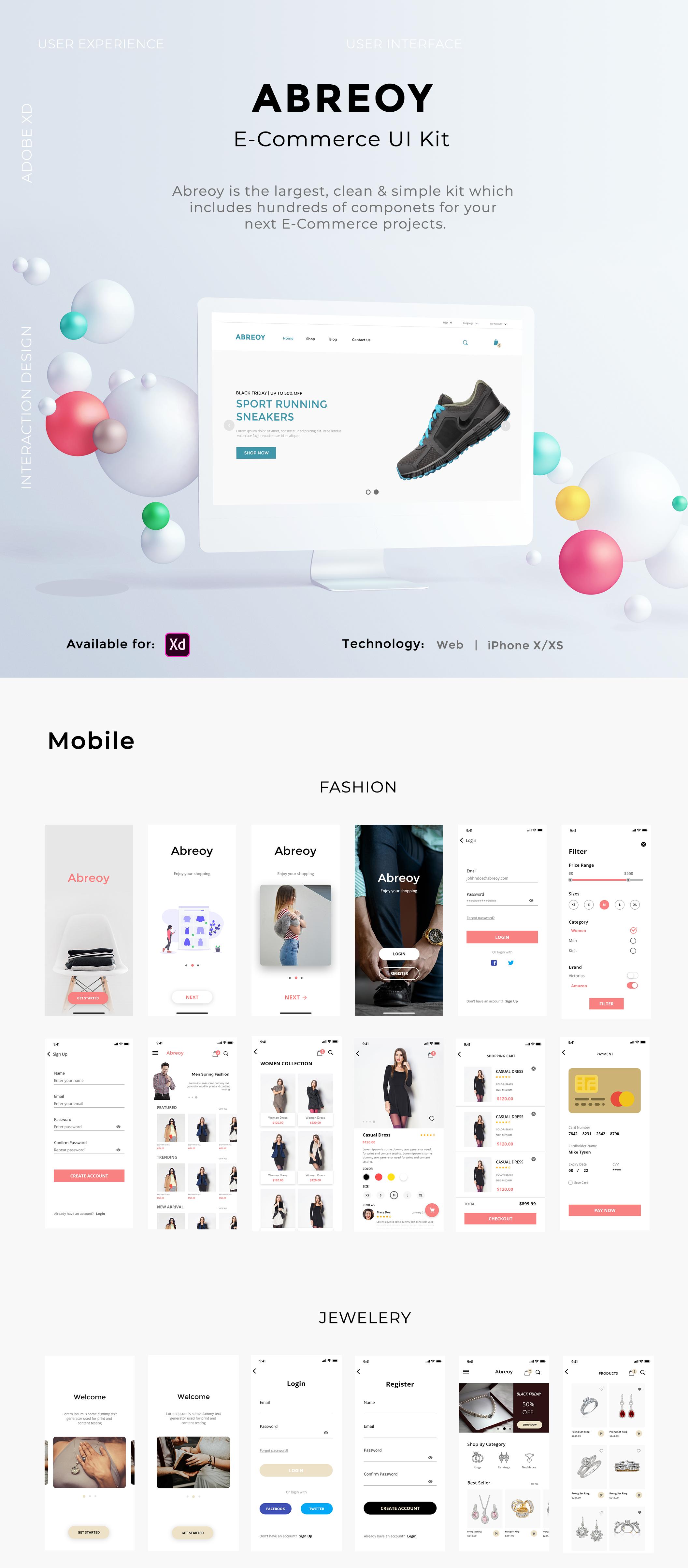 在线购物电子商城APP应用设计UI套件素材 Abreoy E-Commerce UI Kit插图