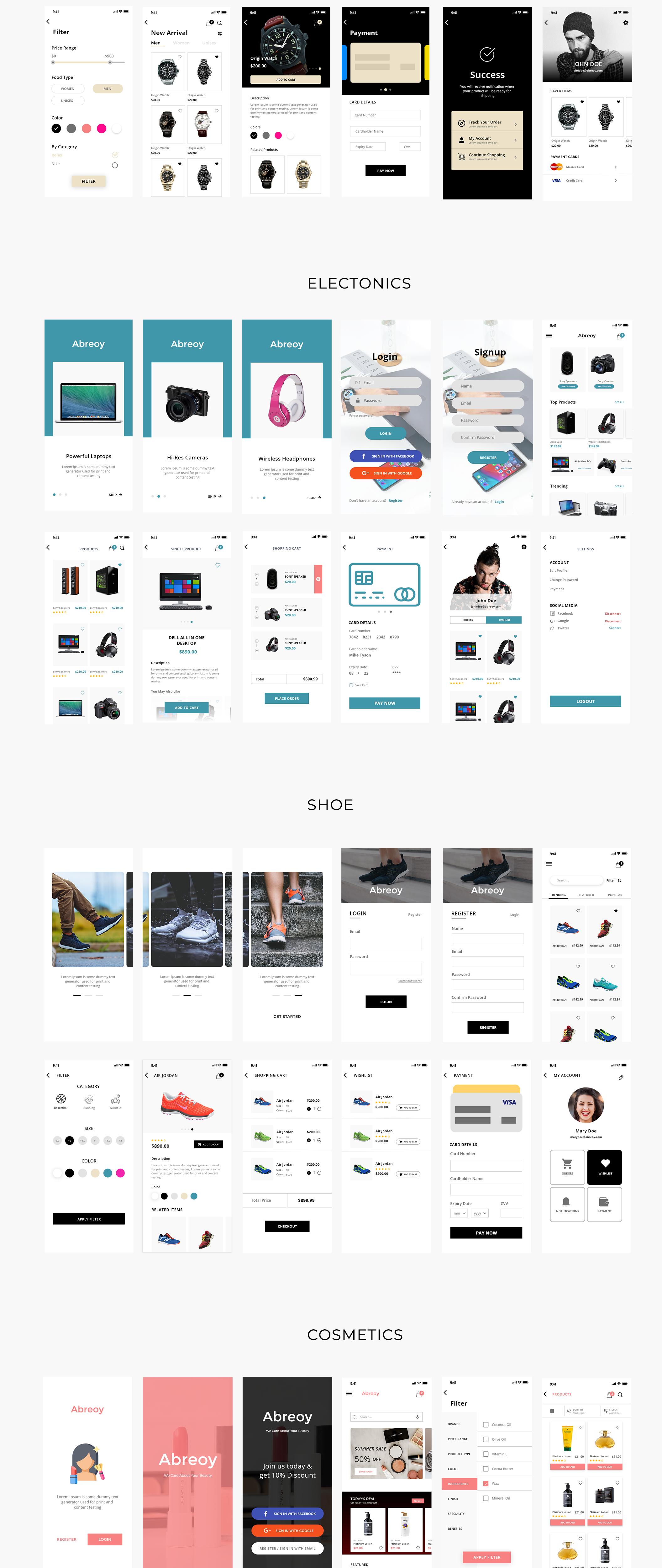 在线购物电子商城APP应用设计UI套件素材 Abreoy E-Commerce UI Kit插图(1)